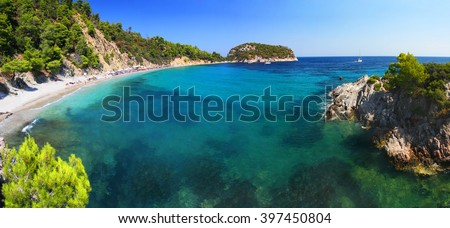 Frequently visited Stafilos beach, Skopelos island (Greece) - stock photo