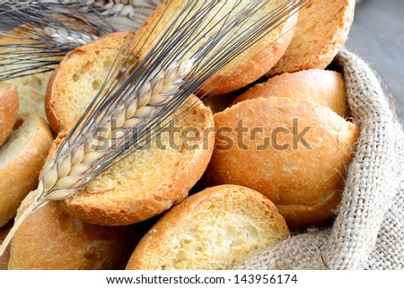 freselle of bread genuine integral in jute sack on wood table