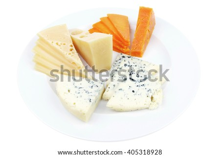 fresh aged french cheese parmesan roquefort and gruyere chops with slices on plate with isolated over white background - stock photo