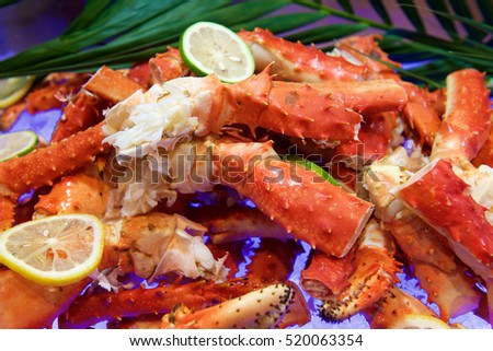 Fresh Alaskan King crab in buffet restaurant