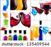 fresh alcohol  drinks collage - cocktail, cola, beer, wine,champagne,orange juice,margarita,martini - stock photo