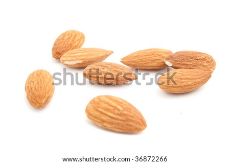 fresh almond isolated on white