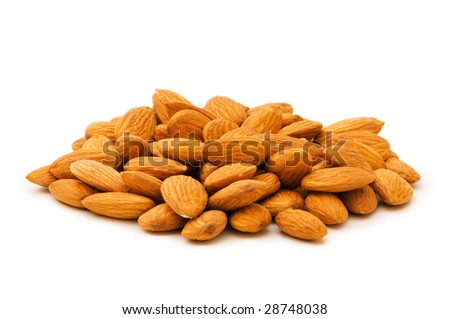Fresh almonds isolated on the white background - stock photo