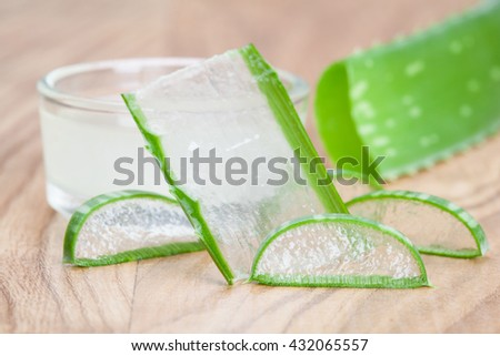 Fresh aloe leaves and a bowl of aloe gel - concept of organic skincare