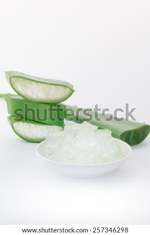 Fresh aloe vera leaves on white background  - stock photo