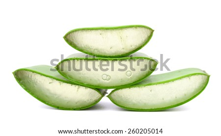 fresh aloe vera sliced on white background  - stock photo