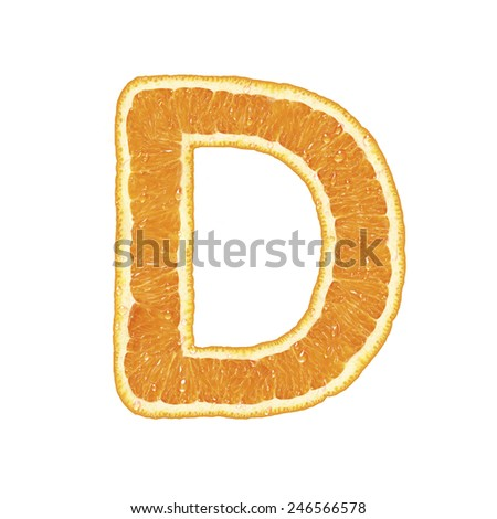 Fresh alphabet isolated on white background (Letter D)