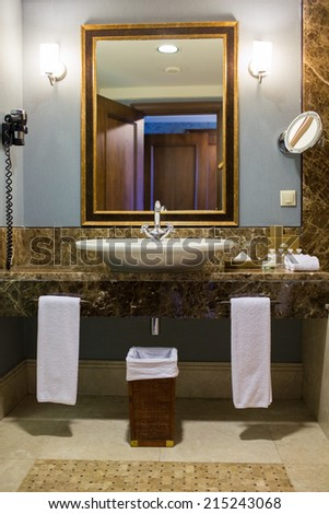 Fresh and clean washbasin, mirror - stock photo