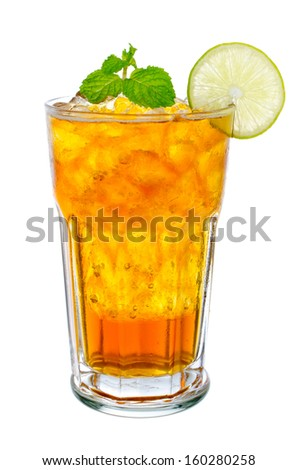 Fresh and cold ice tea with sliced lemon and mint isolated on white - stock photo