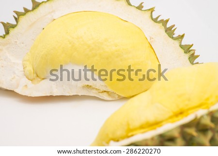 Fresh and delicious Durian yellow meat, king go fruits for food background - stock photo