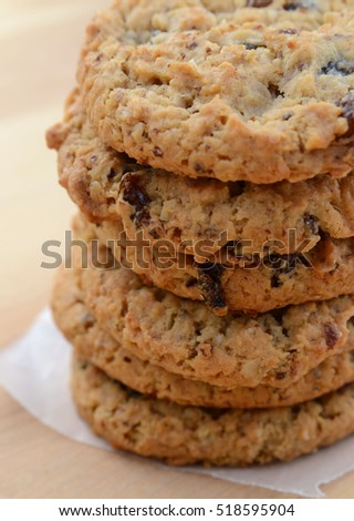 Fresh and delicious oatmeal raisin cookies
