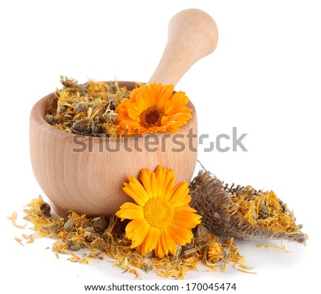 Fresh and dried calendula flowers in wooden mortar  isolated on white - stock photo