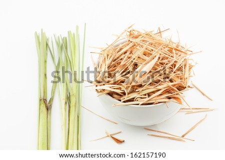 fresh and dried lemongrass on white background - stock photo