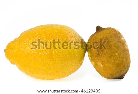 fresh and dried-up old lemon