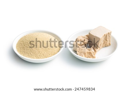 fresh and dry yeast in bowl  on white background - stock photo