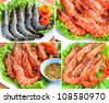 Fresh and grilled of Tiger prawns on a white plate - stock photo