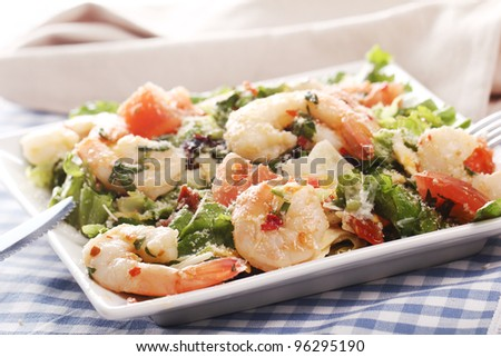 Fresh and healthy salad with shrimps - stock photo