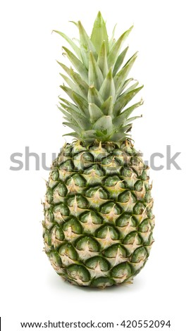 fresh and juicy pineapple isolated on white background - stock photo