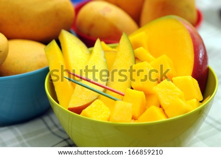 fresh and juicy slice of mango in bowl  - stock photo
