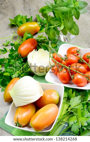 fresh and natural vegetables with fennel,tomatoes,and herbs