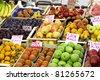 Fresh and organic fruits at farmers market - stock photo