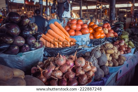 Fresh and organic vegetables at farmers market in Georgia. Toned picture - stock photo