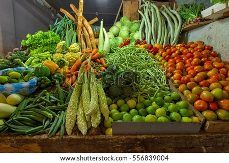Fresh and organic vegetables at farmers market in Sri lanka.