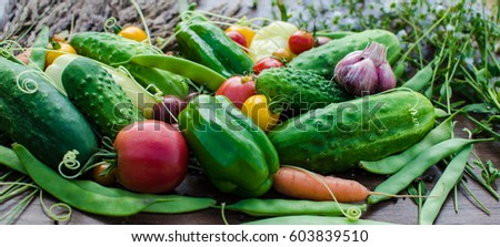 Fresh and raw vegetables
