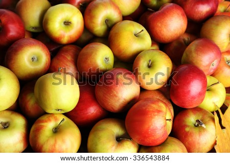 Fresh and ripe apples background, close up - stock photo