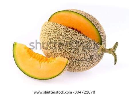 Fresh and ripe Cantaloupe isolated on white background - stock photo