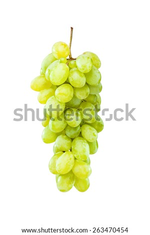Fresh and ripe green grapes hanging against white background