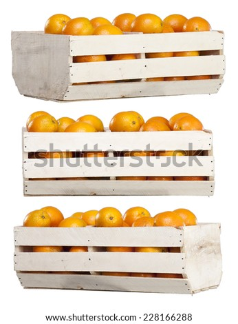 Fresh and Ripe Orange Fruits in a Wooden Box isolated on White Background - stock photo
