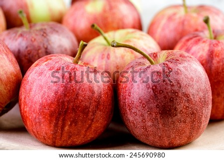 Fresh and Ripe Red Apples on Stoneware Plate