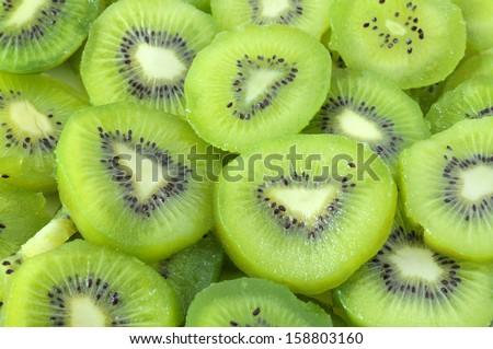 Fresh and ripe slices of kiwi fruit  - stock photo
