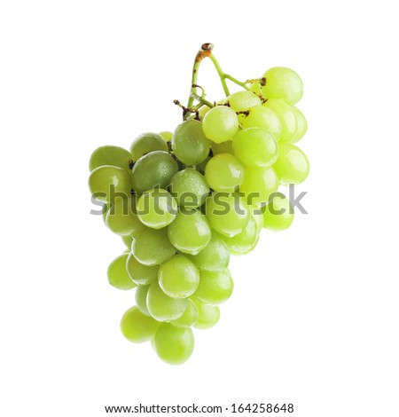 fresh and tasty green grapes isolated on white background - stock photo