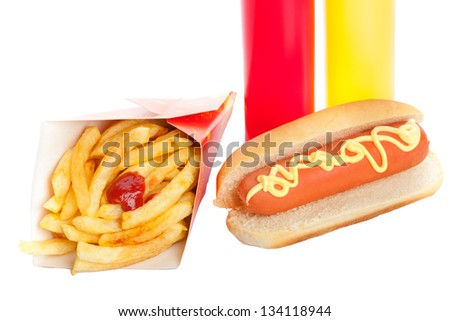 Fresh and tasty hot dog with fried potatoes on white