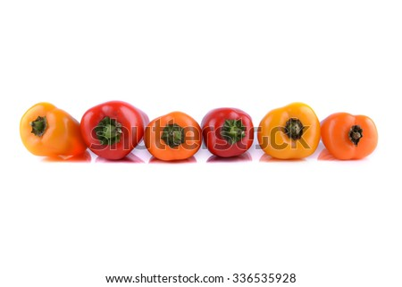 Fresh and Tasty multicoloured capsicum close up  - stock photo