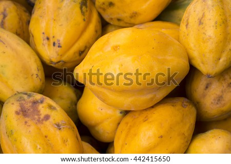 "Fresh and tasty papaya from a  market in Arequipa, Peru. Smaller than usual this papaya is called ""Papaya Arequipeña"". - stock photo"
