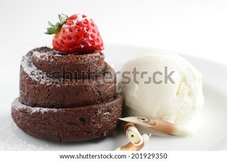 fresh and tasty peace of cake on white background - stock photo