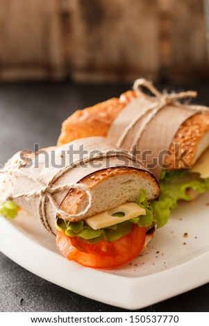 Fresh and tasty sandwich - stock photo