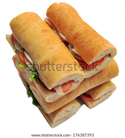 Fresh and tasty sandwiches over white background