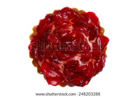 Fresh and tasty strawberry cake isolated over white background - stock photo