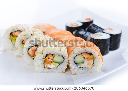 fresh and tasty traditional Japanese sushi - stock photo
