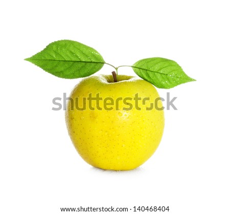fresh and wet yellow apple with green leaf with water and with drops isolated on a white background - stock photo