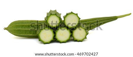 Fresh Angled luffa fruit with slices isolated on white background