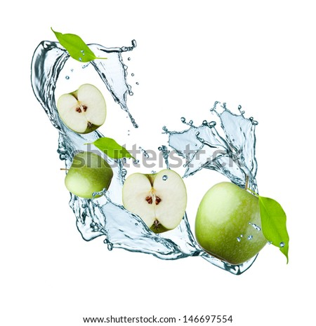 fresh apple and leaf in water splash - stock photo