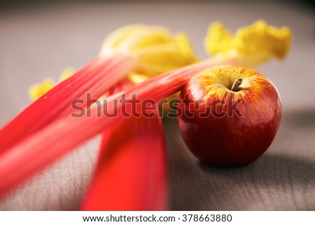 Fresh apple and rhubarb stalks for baking a tasty dessert pie lying on a table, low angle shallow DOF view with focus to the red apple - stock photo