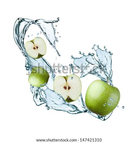 fresh apple and water splash  - stock photo