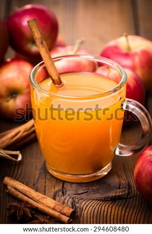 Fresh apple cider with cinnamon - stock photo