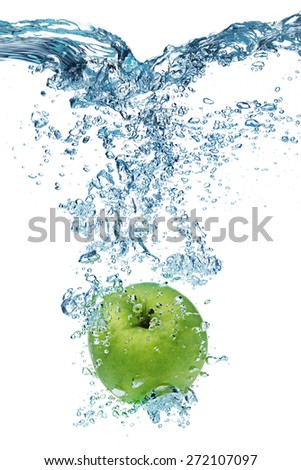 Fresh apple dropped into water with splash isolated on white